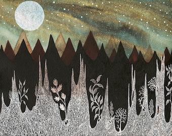 Moon Art // Fine Art Print // Nursery Art // Aurora borealis & the Harvest Moon