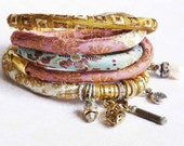 special listing for namcp Pastell color silk  brocade wrap  bracelet