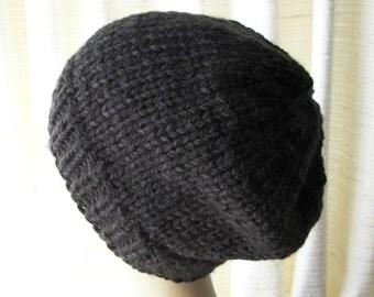 Chunky Beanie Ski Hat Hand Knit in Black Acrylic Vegan Unisex Chunky Warm