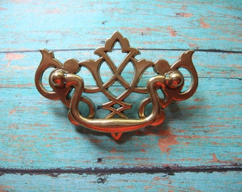 """2 Brass Chippendale Drawer Pulls Traditional Chinese Style Furniture 2 1/2"""" Centers or Borings  Lattice Pattern Open Brass Drawer Handles B8"""