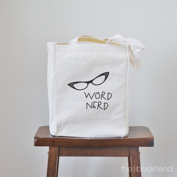 word nerd canvas book tote bag