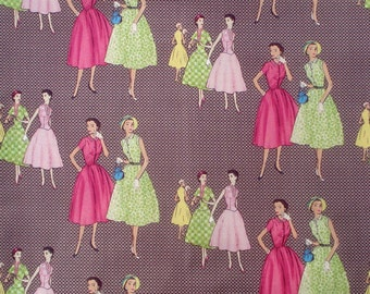 Melody Ross Vintage Ladies brown Homespun Chic Blend fabrics FQ or more
