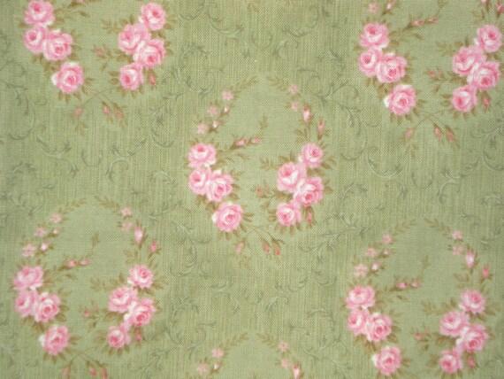 Robyn Pandolph Rue Saint Germain floral wreaths green RJR fabrics FQ or more