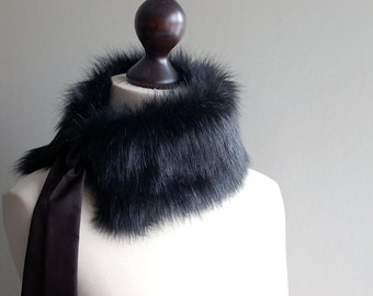 Black faux fur collar. Fur neck warmer. Womens fur collar.
