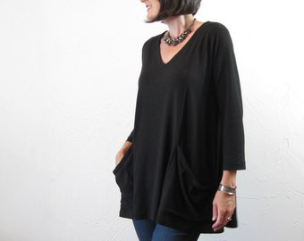 Tunic - Black Bamboo/Cotton Knit Jersey - Oversized with Pockets