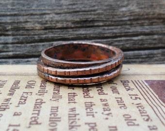 Two Ring Copper Ring, Copper Ring, Wire Ring, Copper Wire, Ring, Textured Ring, Mens Ring, Womens Ring, Band Ring