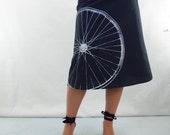 Bicycle Fabric Printed Skirt - Aline Cotton Skirt - Silk Screen Printed to Order