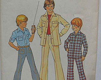 Vintage 70's Boy's Shirt and Pants, Simplicity 7282 Sewing Pattern UNCUT Size 10