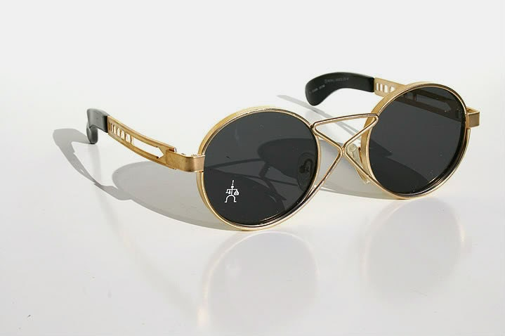 round sunglasses gold metal frame style HT-4008 unusual ...