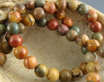 "Red Creek Jasper Beads, Round, 6mm - 16"" Inch Strand"