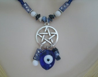Evil Eye Protection Pentacle Necklace, wiccan jewelry pagan jewelry wicca jewelry pentagram witchcraft magic witch gothic wiccan necklace