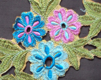 fancy trim - cutwork trim with blue and pink flowers 4 inch wide - 8 yards - lace043