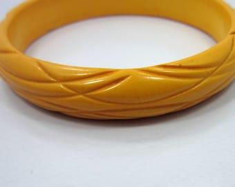 Butterscotch Bakelite Bracelet Bangle Carved