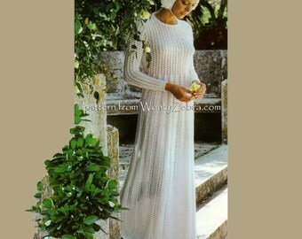 Wedding Dress Knitting Pattern Seventies Vintage PDF 623 from WonkyZebra