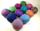 Wool Dryer Balls - Funland Swirl Set of 12 - An Eco-Friendly Alternative to the Conventional Dryer Sheet and Fabric Softener!