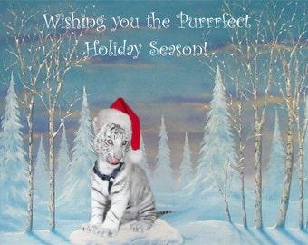 Cairo White Tiger Cub - Christmas Cards Set - Notecard  - greeting card - stationary