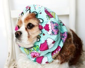 CupCake Dog Snood - Stay Put 3 Rows Elastic Thread - Long Ear Coverup - Cavalier King Charles or Cocker Snood