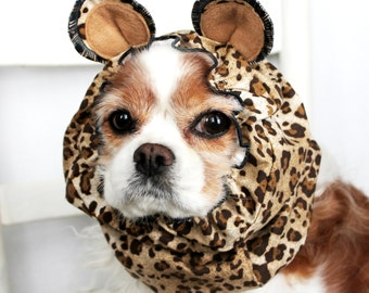 Leopard Ears Dog Snood - Stay-Put 3 Rows Elastic Thread - Pet Hat - Long ear covering - Specialty Snood