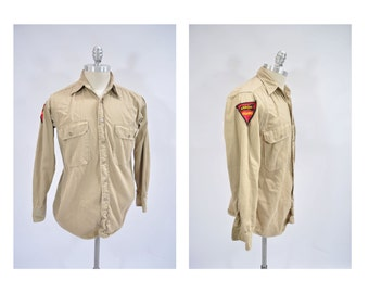 vintage shirt military US ARMY work wear miltary regulation sanforized patch medium arrow guard
