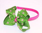 Hot Pink and Apple Green Polka Dot Grosgrain Headband