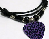 Guitar Pick Necklace - Purple - Leopard - Guitar Pick Jewelry - Animal Print - Adjustable - Black Cotton Cord - 2mm