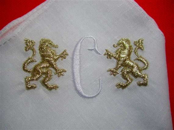 Classic & Classy Bridal hankie to her Father In Law, Groomsmen and others. Gryphon Monogram Embroidered Handkerchief, Gift Boxed