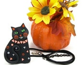 Halloween Black Cat Necklace to Brooch conversion, Orange, Black, Polymer Clay - MelodyODesigns