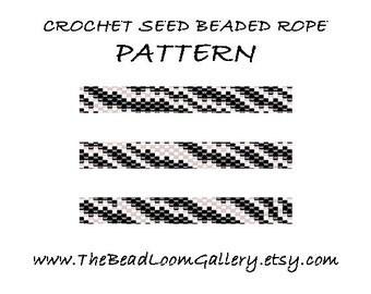 Beaded Rope Pattern - PDF File - Crochet Seed Beaded Rope - Vol.16 - Zebra