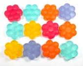 One Dozen Sparkly Flower Soaps -floral, 12 flowers, shiny, glitter, party favor, wedding, birthday, bridesmaids, baby shower, wedding shower