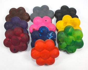 Flower Shaped Recycled Crayons - back to school, school supply, upcycle, party favor, princess party