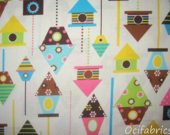 1 Yard Birdhouses Cotton Fabric Urban Zoologie Robert Kaufman BTY Bright Colors On White (spring)