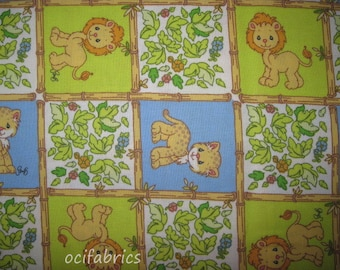 1 Yard PRECIOUS MOMENTS Cotton Fabric Jungle Animals Blue And Green Squares Jaguar Lion BTY