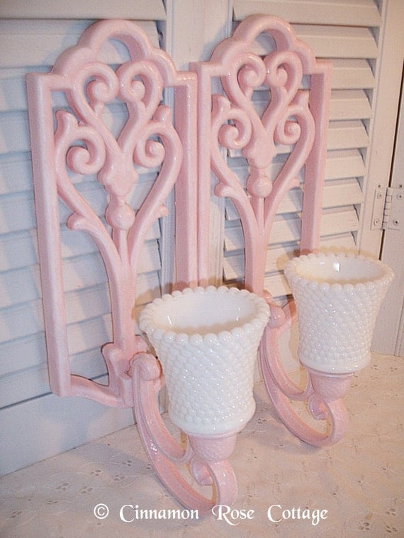 Wall Candle Sconces Etsy : Sale Set/2 Pink Homco Wall Candle Sconces With White Hobnail