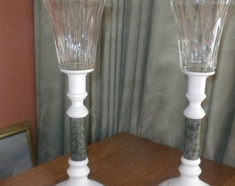 Shabby White Brass Candlestick Pair