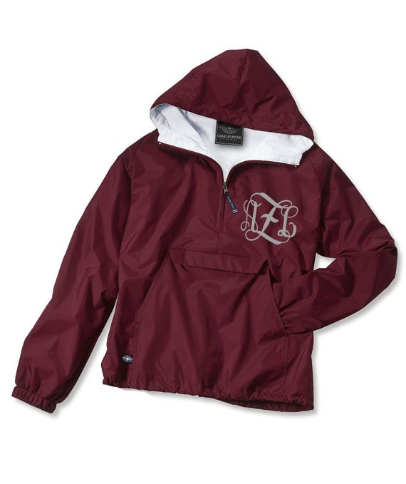 Youth Monogrammed Personalized Maroon Quarter Zip Rain Jacket