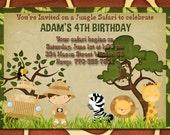 Jungle Safari Zoo  Birthday Invitation-Digtial File
