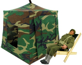 Toy Pop Up Tent, Sleeping Bags, green black brown camouflage print fabric
