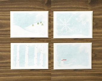 box of 8 variety wintery wintry snow holiday cards