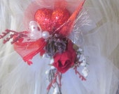 VaLeNTiNeS HeaRT SParKle Red Rose Beads Pearls Holiday Hair bobby Pin for her