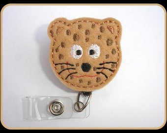 Cute Badge Holder Retractable - Cheetah - tan felt - Badge reel Nurse RN office teacher gift