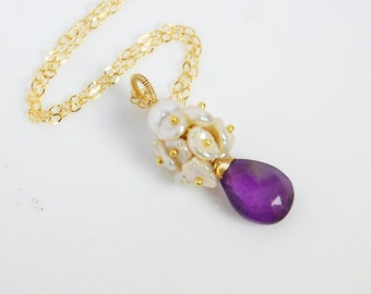 Amethyst and freshwater necklaces with 14K gold filled chains, 14K gold filled necklace