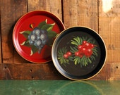 Pair of Hand Painted Tole Ware Trays, Red Tray with Purple Grapes and Black Tray with Red Berries, 7 inch Trays