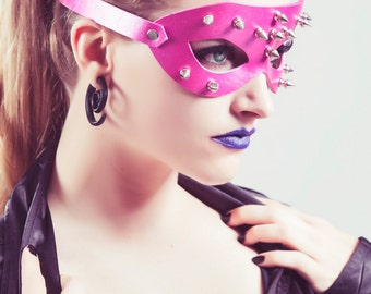Pink Spiked Leather Mask Half Inch Spikes Fetish Masquerade Fantasy Horror Cosplay Creepy Halloween Costume - Available in Any Basic Color