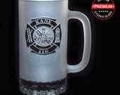 Gifts for Firefighters - FROSTED FIREFIGHTER BEER Mug - 16 oz Frosted Etched Glass Fireman Fire Department Glass Beer Mug - Ships to Canada