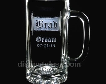 Groomsmen Beer Mug Gifts - VINTAGE SCROLL Wedding BEER Mugs - 16 oz Etched Wedding Glasses Gifts for Master of Ceremonies - Ships to Canada