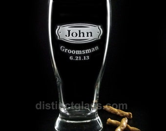 Groomsmen Beer Glass  - BUCKLEHEAD Etched BEER Glasses - Gifts for Best Man Ushers Personalized Beer Glasses Etched Pilsner Glasses