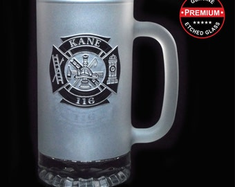 Gifts for Groomsmen - FROSTED FIRE DEPARTMENT Beer Mugs - 16 oz - Etched Glass Fireman Beer Mug by Distinct Glass Studio - Ships to Canada