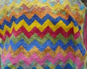 Lap Quilt Throw Bright Rainbow Batiks Zig Zag