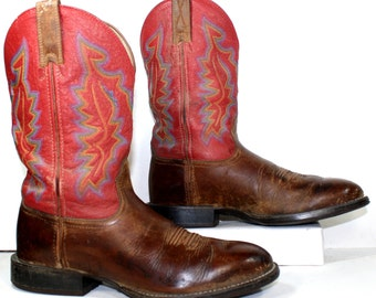 Vintage cowboy cowgirl brown red heel knee high tall western Leather fashion boots 9.5 womans 8 D mens