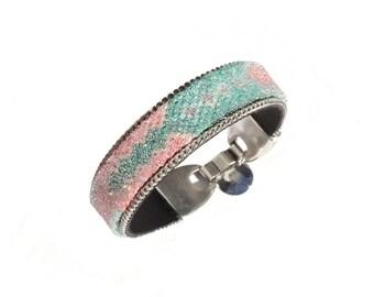 SALE bracelet - friendship bracelet fully embedded with Swarovski aurora borealis crystals - pastel friendship bracelet cuff - BFF gift